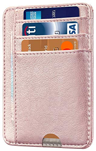 (HOTCOOL Front Pocket Minimalist Leather With RFID Blocking Card Holder Wallet for Men & Women, Rose Gold)