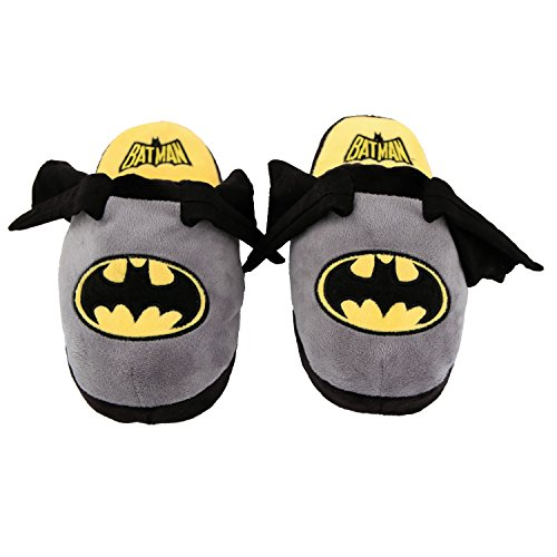 Stompeez Animated Batman Plush Slippers - Ultra Soft and Fuzzy - Wings Flap as You Walk - Medium Grey (Flash Cartoon Animation)