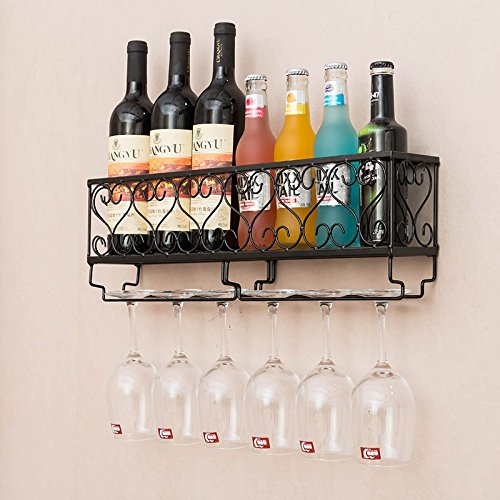 HYNEWHOME Wall Mounted Wine Rack Metal Bottle Holder 6 Long Stem Glass Holder Home Decor For Living Room Or Kitchen,Black (Hold 6 bottles) by HYNEWHOME