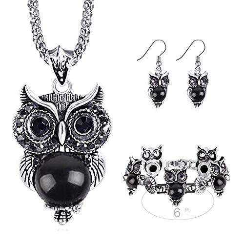 Miraculous Garden Girls Vintage Owl Jewelry Sets Silver Retro Turquoise Gemstone Owl Pendant Necklace Drop Earrings Charm Bracelet Set (Black)
