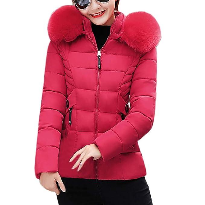 Amazon.com: Toimoth Women Winter Warm Faux Fur Short Hooded Coat Slim Cotton-Padded Big Fur Collar Coats Jackets: Clothing