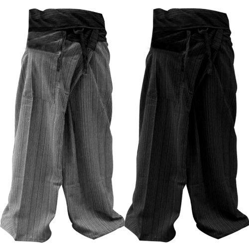 Thai Fisherman Pants Yoga Trousers FREE SIZE Plus Size Cotton Drill Dark BLUE, Light Blue Stripe (2PACK)
