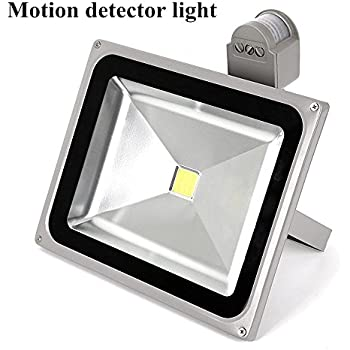 led motion sensor flood light 50w daylight white 6500k 4000lm 120v