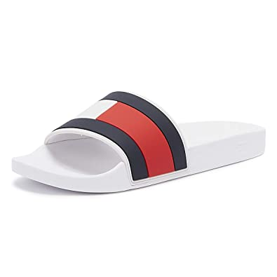 ac0273e1 Amazon.com: Tommy Hilfiger Men's Essential Flag Pool Sliders, White ...