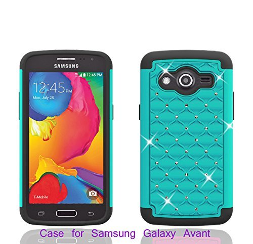 Galaxy Wireless Hybrid Dual Layer Diamond Case for Samsung Galaxy Avant G386 (T-Mobile) (Teal / Black) (Samsung Galaxy Avant G386 Case)
