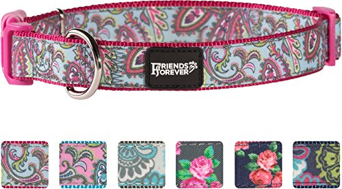 Friends Forever Dog Collar Dogs, Fashion Print Paisley Pattern Cute Puppy Collar, Pink Large 18-26