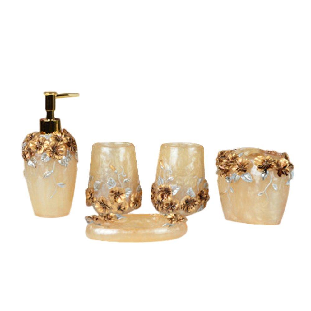 NarwalDate High Grade 5 Pieces Bathroom Accessory Set With Luxury Rose Ensemble,Retro Golden Resin Bathroom Accessory Set (Gold)