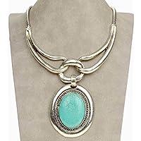 Siam panva Vintage Oval Tribal Genuine Turquoise Statement Charm Beauty Necklace Pendant