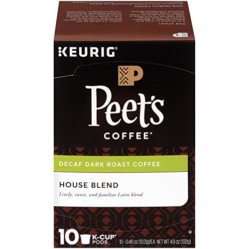 Peet's Coffee, Decaf House Blend, Dark Roast, K-Cup Pack (10 ct.), Single Cup Decaf Coffee Pods, Bright, Lively, & Balanced Dark Roast Blend of Latin American Coffees, for Keurig K-Cup Brewers