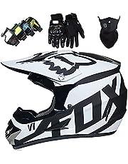 Motorcycle Helmet, Kids Motocross Helmet, Adult Fullface Motocross Helmet, BMX ATV Dirt Bike Protective Gear with Fox Design - Black White,