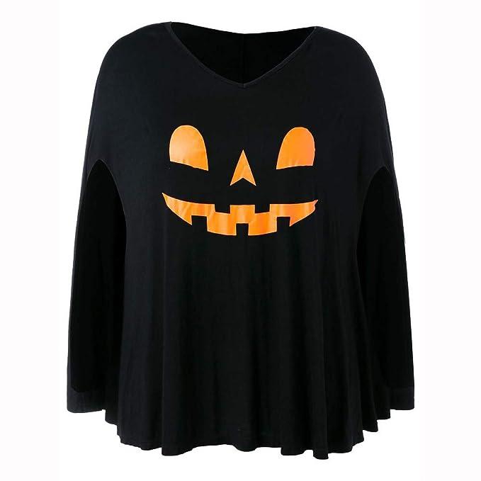 Luckycat Las Mujeres más tamaño de Halloween Batwing Manga Pumpkin Head Print Lamp Poncho Camiseta: Amazon.es: Ropa y accesorios