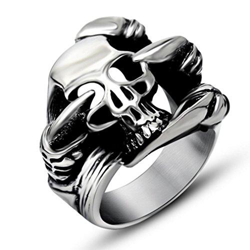 LOMOL Mens Punk Hio Hop Popular Fashion Skull Titanium Steel (Punk Rock Costumes Australia)