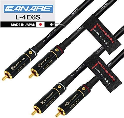 WORLDS BEST CABLES 4フィート RCAケーブルペア - Canare L-4E6S Star Quadオーディオインターコネクトケーブル プレミアム金メッキロックRCAコネクタ付き - 指向性 - カスタムメイド