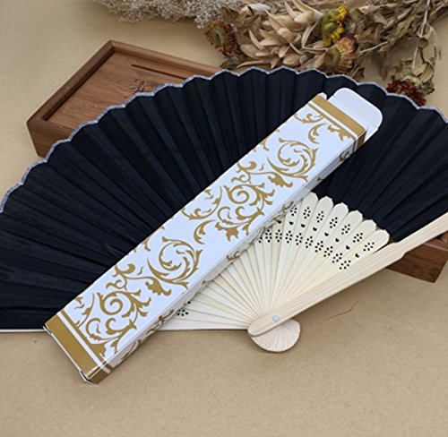 Black 50Pcs/Lot Printed Fan In Gift Box (Gold; Silver) Cloth Folding Hand Fan Wedding Gifts For Guests by Hand Fan