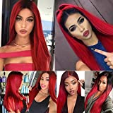 Fani Ombre Wine Red Wigs Long Straight Burgundy