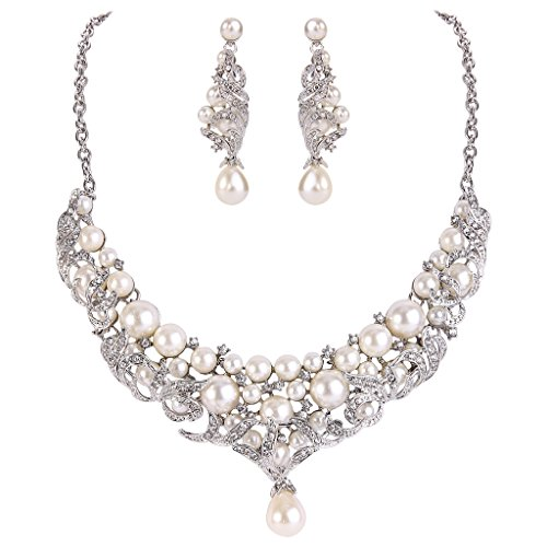 EVER FAITH Cream Simulated Pearl Lots Leaf Necklace Earrings Set Clear Austrian Crystal Silver-tone by EVER FAITH