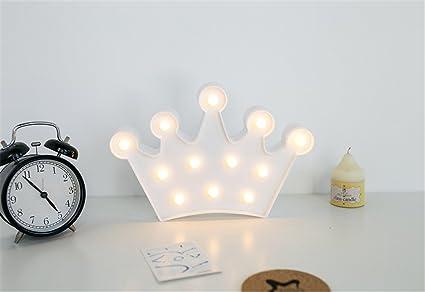 Corona de noche luz niños, mesa de noche lámpara de mesa Children Night Light juguete Dormitorio Niños Chica Bebé mesa decorativa LED de luz nocturna ...