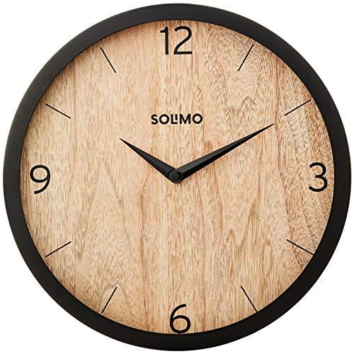 Amazon Brand – Solimo 12″ Wall Clock – Paramount Paneling (Silent Movement, Black Frame)