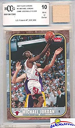 bd0d081773a 2007 Fleer Michael Jordan Card with a Piece of Authentic Michael Jordan  Game Used CHICAGO BULLS ...