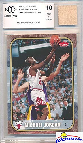 2007 Fleer Michael Jordan Card with a Piece of Authentic Michael Jordan Game Used CHICAGO BULLS FLOOR Graded HIGH BGS BECKETT 10 Mint GGUM Card! Jordan Card in 1986 Fleer Rookie Design! WOWZZER!