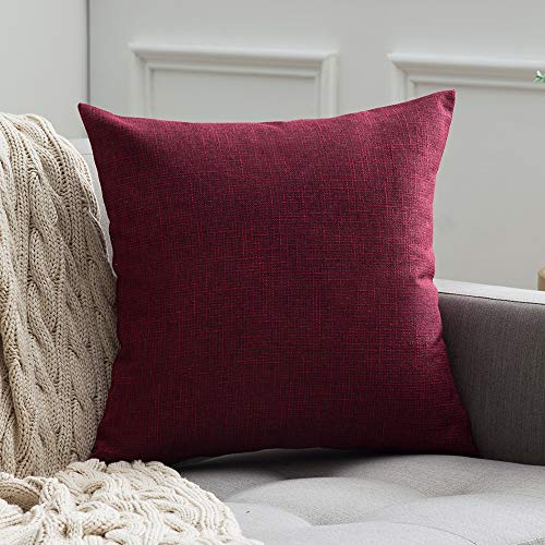 MIULEE Decorative Square Throw Pillow Covers Farmhouse Style Linen Cushion Cases Vintage Decor Cranberry Red Pillow Cases for Couch Sofa Bedroom Car 20 x 20 Inch 50 x 50 cm