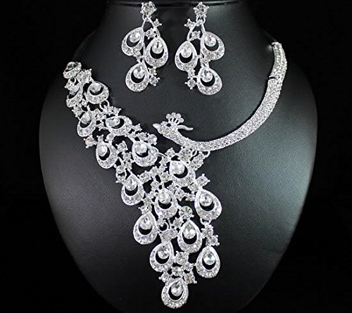 Peacock Clear Austrian Rhinestone Crystal Necklace Earrings Set Bridal Wed (Wed Set)