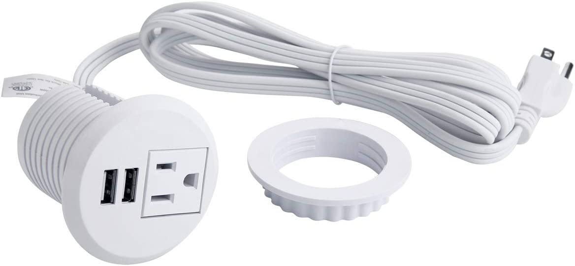 Desktop Power Grommet, Desk Recessed Power Outlet Socket with 2 USB Charging Ports, 1 Plug, Connect 6.5 ft Power Cord fit 2 inches Round Hole(White)