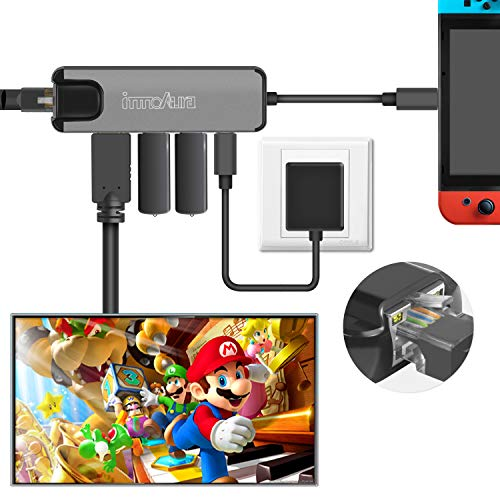 A Connection Extend Gigabit Ethernet (Nintendo Switch Type C Hub Multiport Adapter - innoAura USB C Dock Station with 4K HDMI Converter, USB-C PD Charging Port, Gigabit Ethernet, 2 USB 3.0 Ports for Nintendo Switch, Work as Switch Dock)