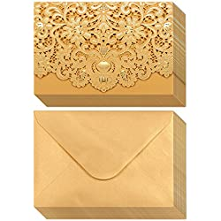 24-Pack Wedding Invitation Cards - Laser Cut Gold Foil and Floral Design Invitation Pockets for Bridal Showers, Engagement Parties, Includes Covers, Blank Inserts, Envelopes, 5 x 7.25 Inches