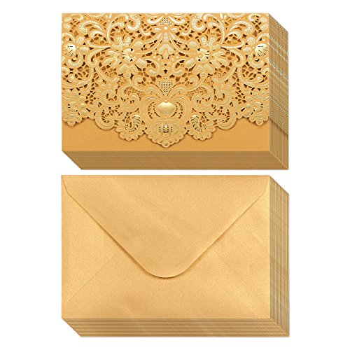 24-Pack Wedding Invitation Cards – Laser Cut Gold Foil and Floral Design Invitation Pockets for Bridal Showers, Engagement Parties, Includes Covers, Blank Inserts, Envelopes, 5 x 7.25 Inches