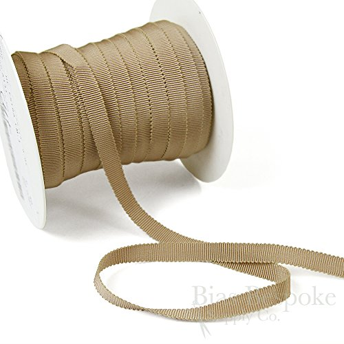 (3 Yards of Vera 3/8'' Cotton & Viscose Petersham Grosgrain Ribbon, Sandstone, Made in Italy)