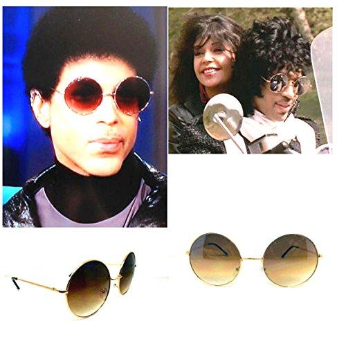 NEW PRINCE PURPLE RAIN RETRO ROUND SUNGLASSES GOLD BROWN METAL 400% - Glasses Prince