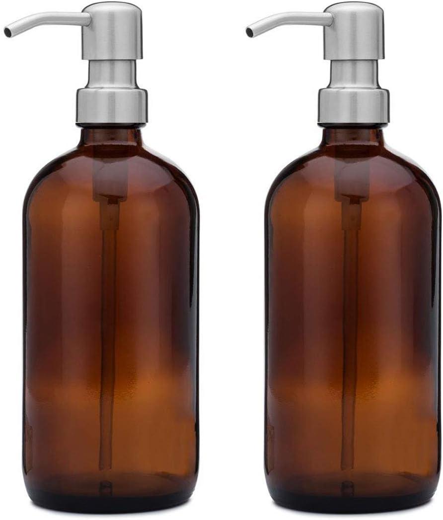 Falehgf 16 oz dispensadores de Botella Redonda con Acero Inoxidable Bombas-2 Pcs Vaso de Cerveza Dispensadores de jabón Tarro de jabón líquido, loción, champú,Silver
