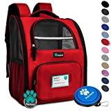 PetAmi Deluxe Pet Carrier Backpack for Small Cats and Dogs, Puppies | Ventilated Design, Two-Sided Entry, Safety Features and Cushion Back Support | for Travel, Hiking, Outdoor Use (Red) For Sale