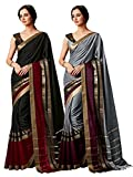ELINA FASHION Pack of Two Sarees for Indian Women Cotton Art Silk Printed Weaving Border Saree || Sari Combo (Multi 16)