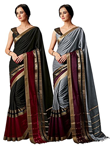- ELINA FASHION Pack of Two Sarees for Indian Women Cotton Art Silk Printed Weaving Border Saree || Sari Combo (Multi 16)
