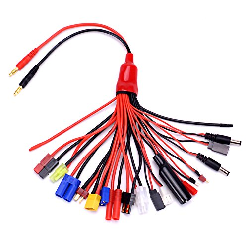 Readytosky 19-in-1 Lipo Battery Charger Adapter Convert Cable Banana Plug to Traxxa/JST/FUTABAS/T-Plug/XT60/EC3/EC5/Hxt 4MM/TAMIYAS for RC Car Drone