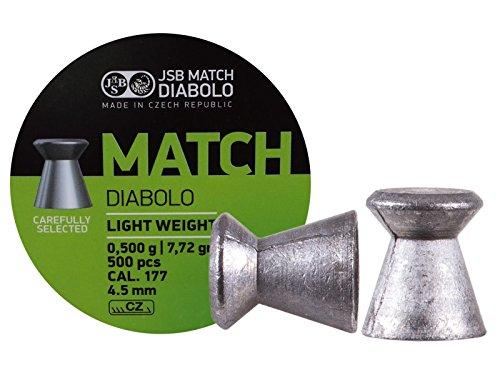 JSB Green Match Light Weight .177 Cal, 7.72 Grains, Wadcutter, 500ct by JSB