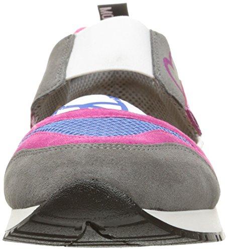 Love Moschino Women's Cut-Out Logo Running Shoe Fashion Sneaker, Fuchsia/Grey/Blue, 37 EU/7 M US by Love Moschino (Image #4)