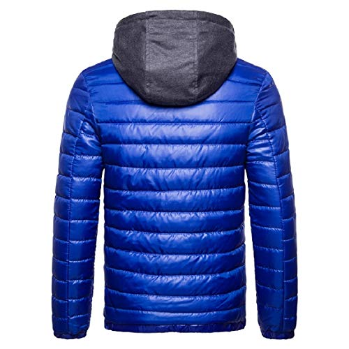 Wool Cotton Solid Hooded Mens Blue Comfort Thicken Zip Coat Mogogo fqZ0npwP