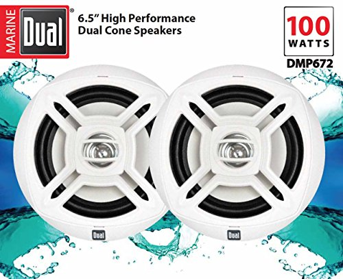 Dual Electronics DMP672 Two 6.5 inch Water Resistant Dual Cone High Performance Marine Speakers with 100 Watts of Peak Power by Dual Electronics (Image #5)