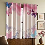 Cheap Custom design curtains/Vintage Lace Window Curtain/Grommet Top Blackout Curtains/Thermal Insulated Curtain For Bedroom And Kitchen-Set of 2 Panels(Butterflies Curly Wavy Leaves Insect Summertime)