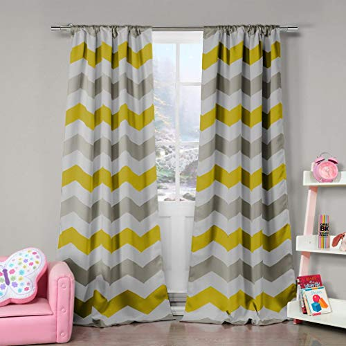 Duck River Textile Fifferly Chevron Insulated Blackout Room Darkening Window Curtain Set of 2 Panels, 39 X 84, Grey & Yellow & White