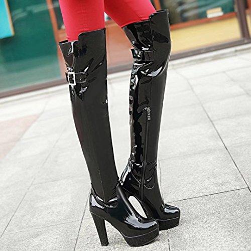 Aiyoumei Dames Lakleer Platform Hoge Hak Winter Over De Knie Laarzen Met Gesp Zwart