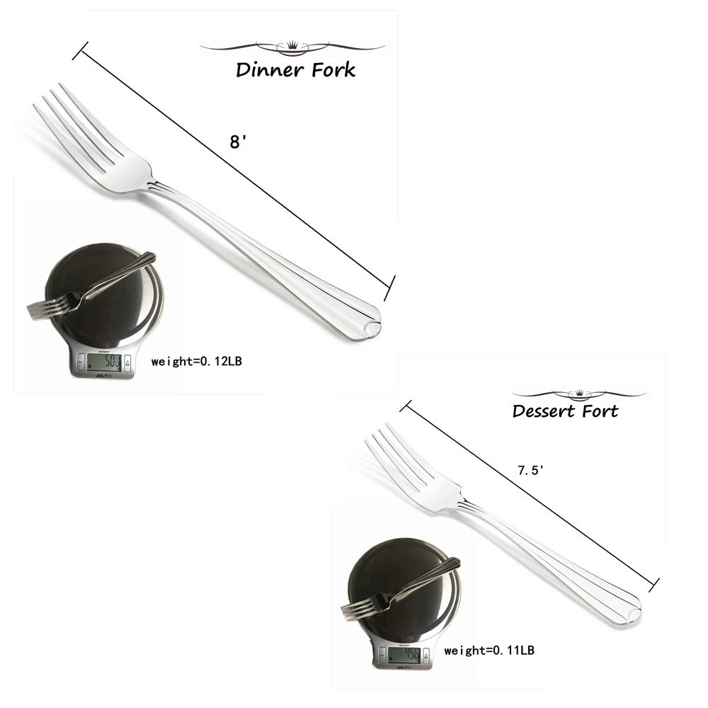 A.Uten 24-Piece Flatware Cutlery Set, Stainless Steel Utensils Service for 4, Dinner Knife/Steak Knife/Fork/Spoon, Mirror Polished
