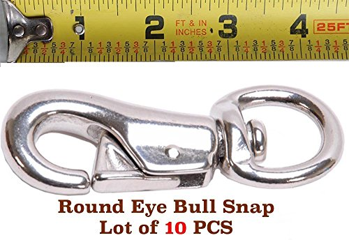 PRORIDER Lot of 10 pcs Malleable Iron Round Eye Bull Snap Nickel Plated 7/8