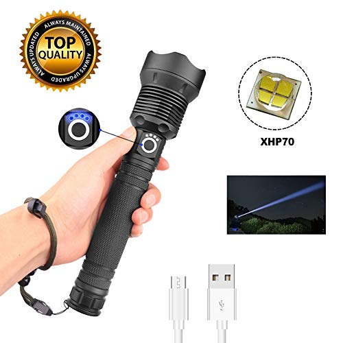 SeaHome USB Rechargeable LED Flashlight, Telescopic Zoom