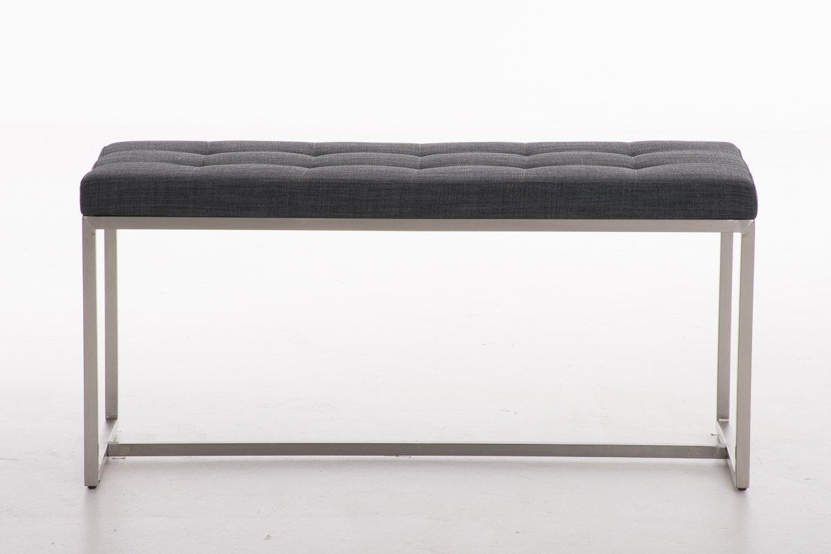 CLP Banc banquette en tissu BARCI en acier - Banc design - 100 x 40 cm - hauteur 48 cm - gris foncé