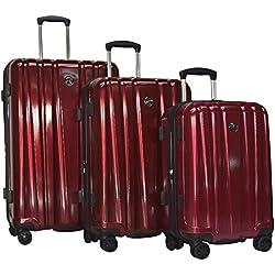 "Revo Impact 3-Piece Expandable Hardside Spinner Luggage Set: 30"", 25"", and 20"" (One Size, Burgundy)"