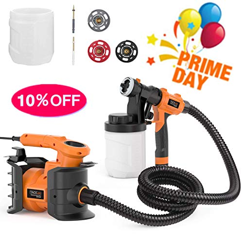 (Paint Sprayer, Tacklife SGP16AC Professional 800W Spray Gun MAX Flow 1100ml/min Paint Container with 3 Copper Nozzle Sizes, 2 PCS 1200ml Detachable Containers for Painting)
